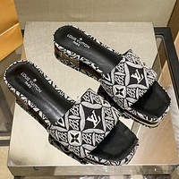 LV Louis Vuitton woven embroidery letters stitching color ladies personalized sandals slippers Shoes Black