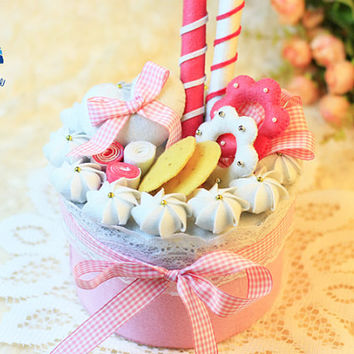 Pink Ribbon Girlie Cream Birthday Cake with Candles Storage Box DIY Felt Craft Kit OR Finished Product