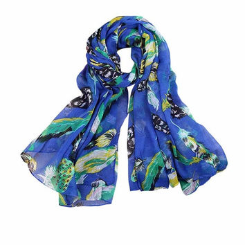 New Arrival Scarf Women Ladies Leaves Birds Print Voile Soft Long Scarf Warm Wrap Shawls Female echarpe hiver femme #1201 SM6