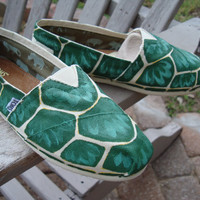 turtle shell print-hand painted on TOMS shoes-made to order-your choice of the print