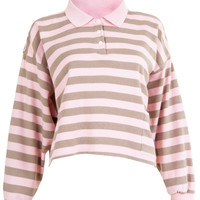 Stripes Polo Crop Top