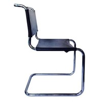 Pre-owned Mies Style Leather Chrome Chairs - A Pair