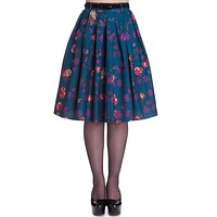 Hell Bunny Wonderland Forest & Birds Print Midnight Blue Pleated Skirt