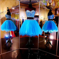 2016 New Two Pieces Homecoming Cocktail Party Graduation Dress Evening Prom Gown