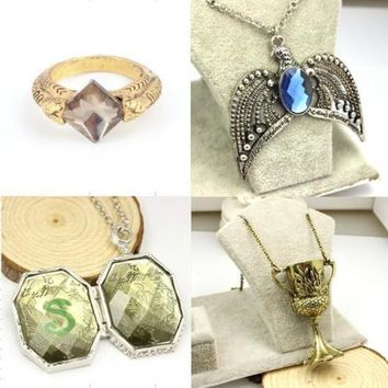 Harry Potter Horcrux Set 4PCS Sorcerer's Stone Ring Diadem Hufflepuff Cup Locket Halloween New Year Christmas Gift  Collectible