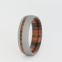 Mens Ironwood wood Ring with a Sandblasted finish