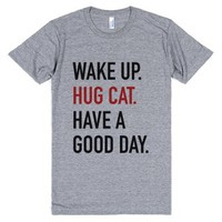 Wake Up Hug Cat Have A Good Day T-shirt Red Black