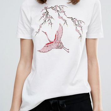 Y.A.S Tall Bird Floral Embroidered Tee at asos.com