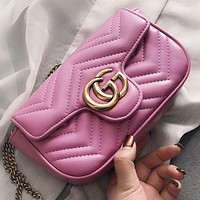GUCCI Fashion New Leather Chain Shopping Leisure Shoulder Bag Crossbody Bag Pink