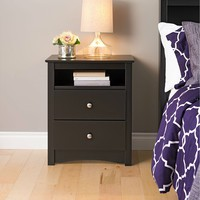 Black Nightstand For Bedroom With Drawers