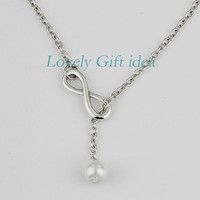 Infinity necklace white pearl pendant,infinity with pearl jewelry,Pearl color is adjustable,Bridesmaids,wedding,Dainty tiny Necklace.