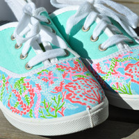 Lilly Pulitzer Inspired Hand Painted Canvas Shoes: Let's Cha Cha Sneakers
