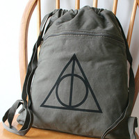 Deathly Hallows Backpack Harry Potter Canvas Screen Printed