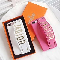 DIOR mobile phone case wristband iphone6s leather case tide brand atmosphere female soft shell