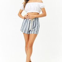 Paperbag-Waist Linen-Blend Striped Shorts