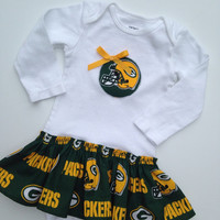 Packers Onesuit Dress, Green Bay Baby Dress, Packers Baby Dress, Green Bay Packers dress