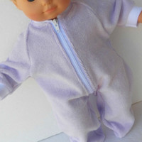 "Handmade Bitty Baby Doll Clothes Twin Girl, or Baby Doll 15""  Lavender Zip Terry cloth Pjs Sleeper Feetie Pajamas"