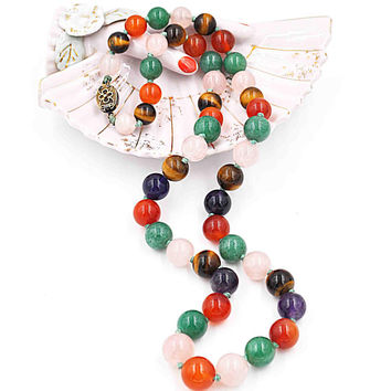 Vintage Chinese Export Multi-Gem Bead Necklace, Sterling Silver, Jade, Gemstone, Multicolor, Knotted, 24 1/2 Inches, Striking! #c516