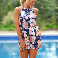 Right Place, Right Time Floral Romper