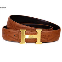 Hermes 2019 new classic H letter buckle embossed logo belt Brown