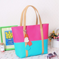 Color Block Heart Cut-Out Chain Leather Tote Handbag