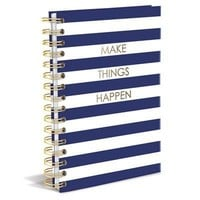 Make Things Happen Hard Cover Journal in Navy Stripe and Metallic Gold