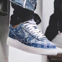 Supreme x Louis Vuitton Nike Air Force 1 Blue Denim Sneakers