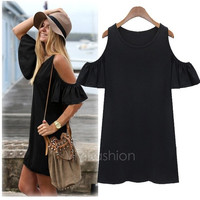 Women Butterfly Sleeve Cotton Cute Strap off Shoulder Vest dress plus size XXXL VVF = 5698683777