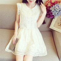 Peter Pan Collar Boat Sleeve Mini Dress