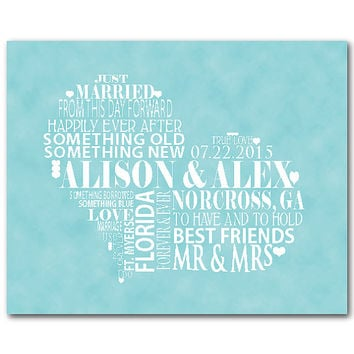 Customizable gift -Personalized wedding Typography Wall Art - couples art Wedding heart Anniversary Gift Word Art Print Valentines Day Gift