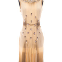 Pale Yellow and Taupe Dress with Beaded Detail