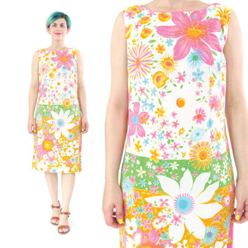 60s Floral Cotton Dress Floral Print Shift Dress Mod Flower Power Dress Bright Colorful Floral Dress Sleeveless Fitted Cotton Dress (S)
