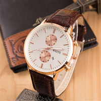 Mens Boys Classic Leather Strap Watch Casual Style Watches +  Beautiful Gift Box Watch-335