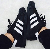 """ADIDAS"" Trending Fashion Casual Sports Shoes Black white line F"