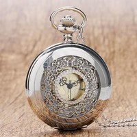Silver Scroll Detail Classic Pocket Watch For Man or Woman