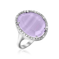 Sterling Silver Freeform Ring with Amethyst and Diamonds: Size 8