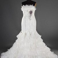A-line Strapless Sleeveless Chapel Train Satin Organza Lace Wedding Dress With Sashes Free Shipping