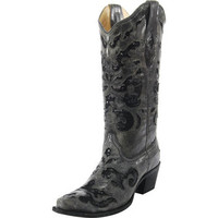 Corral Black Crater with Sequin Inlay-13 Top Cowgirl Boots