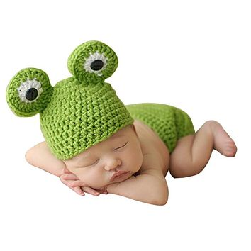 Cute Frog born Crochet Outfits Warm Set Cap Boy Cap Girl Hat Baby Cap Baby Hat For Infant born Photography Prop