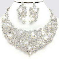 White pearl crystal statement Necklace earrings set