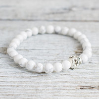 White howlite beaded silver smiling Buddha stretchy bracelet, made to order yoga bracelet, mens bracelet, womens bracelet