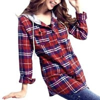 Woman Flap Patch Pockets Hooded Plaid Shirt Top Red S