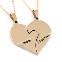 Gold Daughter Mother Necklace Heart Gold Purity Pendant Infinity Necklace (2pcs)