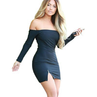 2015 New Autumn Women Dress Zipper Off Shoulder Long Sleeve Dresses Sexy Club Evening Party Bodycon Mini Dresses Black White