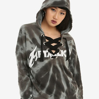 Metallica Bleach Wash Lace-Up Neckline Girls Crop Hoodie