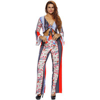2017 Trending Fashion Women Floral Printed Sexy Floral Printed Casual Long Sleeve V Neck Erotic Trousers Pants _ 11945