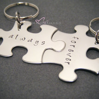 Always Forever Keychains for Couples Puzzle Pieces
