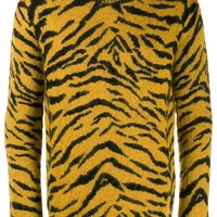 Yellow Zebra Print Pattern Sweater by Saint Laurent