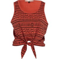 red aztec print tie front crop tank - crop tops - t shirts / vests / sweats - women - River Island