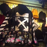 OFF White Fashion Fireworks Print Hooded Cardigan Jacket Coat
